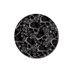 Skulls Pattern Magnet 3  (round) by ValentinaDesign