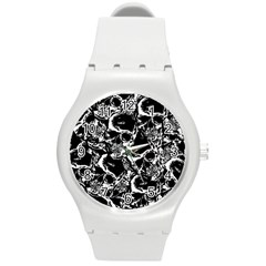 Skulls Pattern Round Plastic Sport Watch (m) by ValentinaDesign
