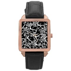 Skulls Pattern Rose Gold Leather Watch  by ValentinaDesign