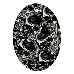 Skulls Pattern Oval Ornament (two Sides) by ValentinaDesign