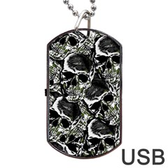 Skulls Pattern Dog Tag Usb Flash (two Sides) by ValentinaDesign