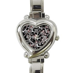 Skulls Pattern Heart Italian Charm Watch by ValentinaDesign