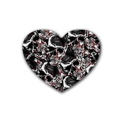 Skulls Pattern Heart Coaster (4 Pack)