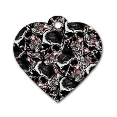 Skulls Pattern Dog Tag Heart (two Sides) by ValentinaDesign