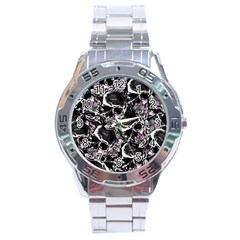 Skulls Pattern Stainless Steel Analogue Watch by ValentinaDesign