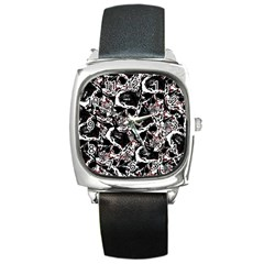 Skull Pattern Square Metal Watch by ValentinaDesign
