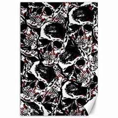 Skull Pattern Canvas 12  X 18   by ValentinaDesign