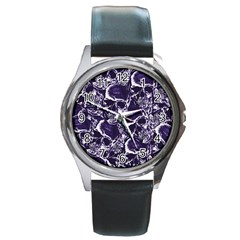 Skull Pattern Round Metal Watch by ValentinaDesign