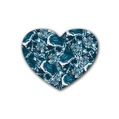 Skull Pattern Rubber Coaster (heart)  by ValentinaDesign