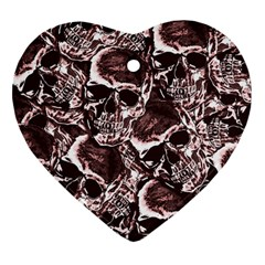 Skull Pattern Heart Ornament (two Sides) by ValentinaDesign