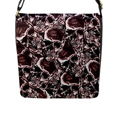 Skull Pattern Flap Messenger Bag (l)  by ValentinaDesign