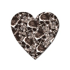 Skull Pattern Heart Magnet by ValentinaDesign