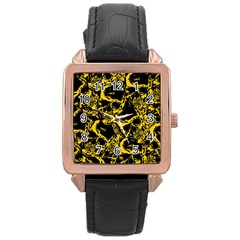Skull Pattern Rose Gold Leather Watch