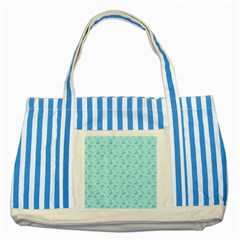 Floral Pattern Striped Blue Tote Bag by ValentinaDesign