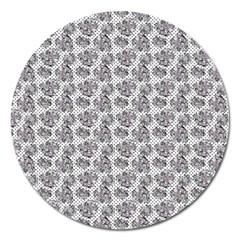 Floral Pattern Magnet 5  (round)
