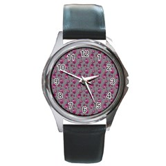 Floral Pattern Round Metal Watch by ValentinaDesign