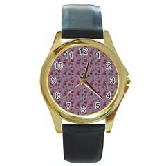 Floral Pattern Round Gold Metal Watch by ValentinaDesign