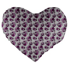 Floral Pattern Large 19  Premium Flano Heart Shape Cushions by ValentinaDesign