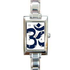Hindu Om Symbol (dark Blue) Rectangle Italian Charm Watch by abbeyz71