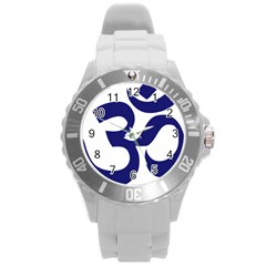 Om Symbol (midnight Blue) Round Plastic Sport Watch (l) by abbeyz71