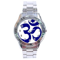 Om Symbol (navy Blue) Stainless Steel Analogue Watch by abbeyz71