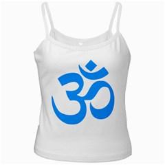 Hindu Om Symbol (ocean Blue) White Spaghetti Tank by abbeyz71