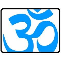 Hindu Om Symbol (ocean Blue) Fleece Blanket (large)  by abbeyz71