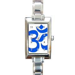Hindu Om Symbol (blue) Rectangle Italian Charm Watch by abbeyz71