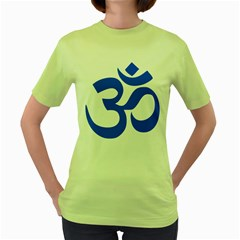 Hindu Om Symbol (blue) Women s Green T Shirt