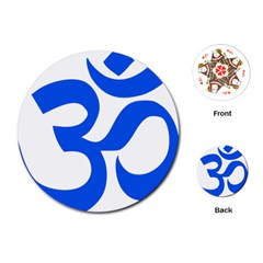 Hindu Om Symbol (blue) Playing Cards (round)  by abbeyz71