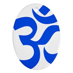 Hindu Om Symbol (blue) Oval Ornament (two Sides) by abbeyz71