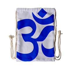 Hindu Om Symbol (blue) Drawstring Bag (small) by abbeyz71