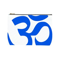 Hindu Om Symbol (blue) Cosmetic Bag (large)  by abbeyz71