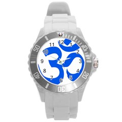 Hindu Om Symbol (blue) Round Plastic Sport Watch (l) by abbeyz71