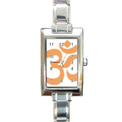 Hindu Om Symbol (sandy Brown) Rectangle Italian Charm Watch by abbeyz71