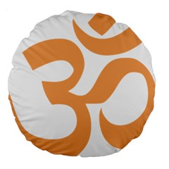 Hindu Om Symbol (sandy Brown) Large 18  Premium Round Cushions by abbeyz71