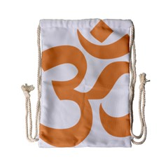 Hindu Om Symbol (sandy Brown) Drawstring Bag (small) by abbeyz71