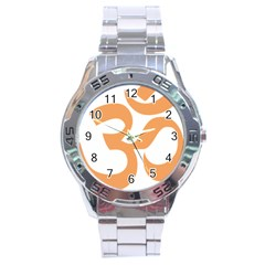 Hindu Om Symbol (sandy Brown) Stainless Steel Analogue Watch by abbeyz71