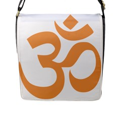 Hindu Om Symbol (sandy Brown) Flap Messenger Bag (l)  by abbeyz71