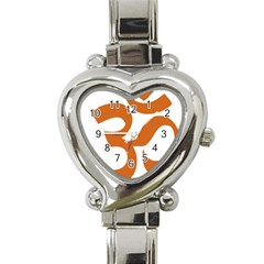 Hindu Om Symbol (chocolate Brown) Heart Italian Charm Watch by abbeyz71