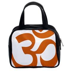 Hindu Om Symbol (chocolate Brown) Classic Handbags (2 Sides) by abbeyz71