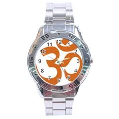 Hindu Om Symbol (chocolate Brown) Stainless Steel Analogue Watch by abbeyz71
