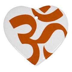 Hindu Om Symbol (chocolate Brown) Heart Ornament (two Sides) by abbeyz71