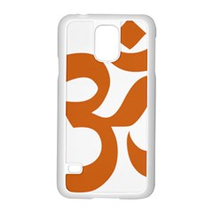 Hindu Om Symbol (chocolate Brown) Samsung Galaxy S5 Case (white) by abbeyz71