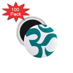Hindu Om Symbol (dark Cyan) 1 75  Magnets (100 Pack)  by abbeyz71
