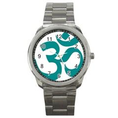 Hindu Om Symbol (dark Cyan) Sport Metal Watch by abbeyz71