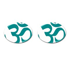 Hindu Om Symbol (dark Cyan) Cufflinks (oval) by abbeyz71