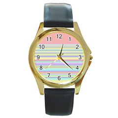 All Ratios Color Rainbow Pink Yellow Blue Green Round Gold Metal Watch by Mariart