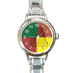 Albers Out Plaid Green Pink Yellow Red Line Round Italian Charm Watch by Mariart