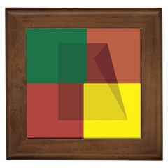 Albers Out Plaid Green Pink Yellow Red Line Framed Tiles by Mariart